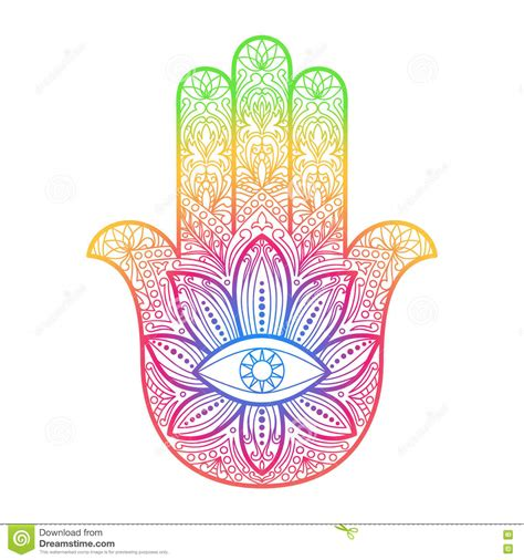 hamsa hand of fatima protection amulet cartoon vector