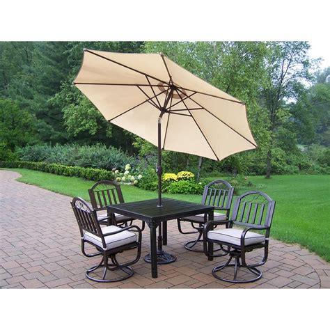 oakland living rochester 5 swivel patio dining set