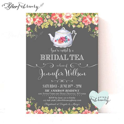 free bridal shower tea invitation templates bridal shower invite bridal shower invite wording card