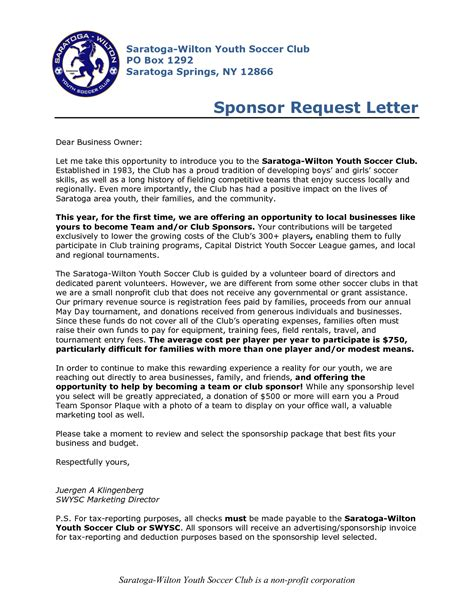 Sponsor Letter For best photos of youth sports donation request letter