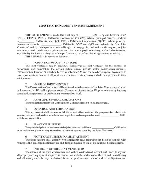 joint venture agreement template doc doc 12771652 doc575709 sle joint venture agreement