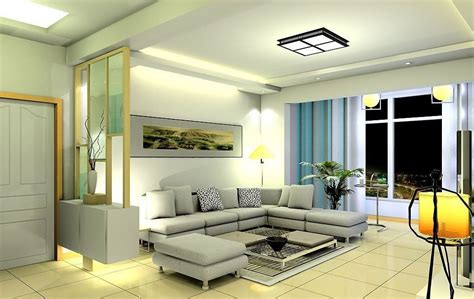 pale yellow lighting in living room 3d house free 3d