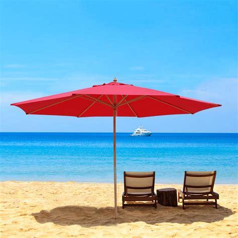 13 Ft Patio Umbrella 13 Ft Patio Wood Umbrella German Wooden Pole Outdoor Cafe Garden Sun Shade