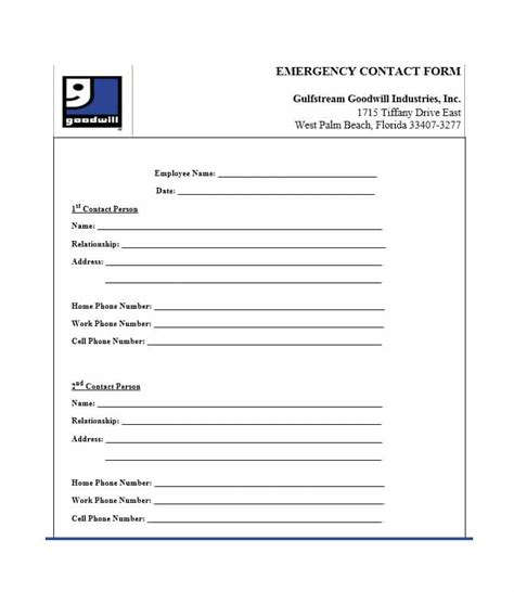 54 Free Emergency Contact Forms Employee Student In Of Emergency Form Template