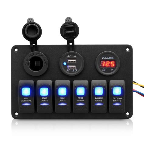 6 12v 24v rocker switch panel marine boat