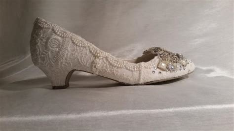1 Inch Bridal Shoes by Low Heel Wedding Shoes 1 5 8 Inch Heels Vintage Lace