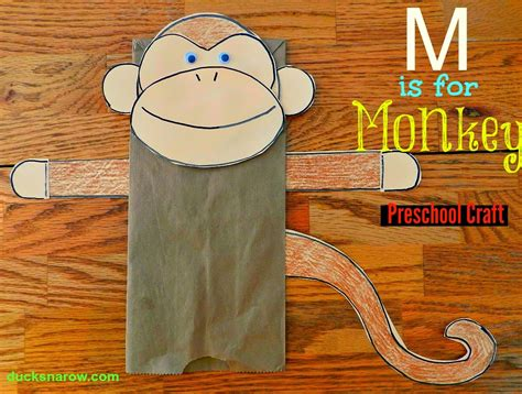 Paper Bag Monkey Craft - ducks n a row make a paper bag monkey puppet with