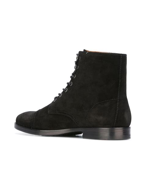 handcrafted mens fashion black suede lace up boots