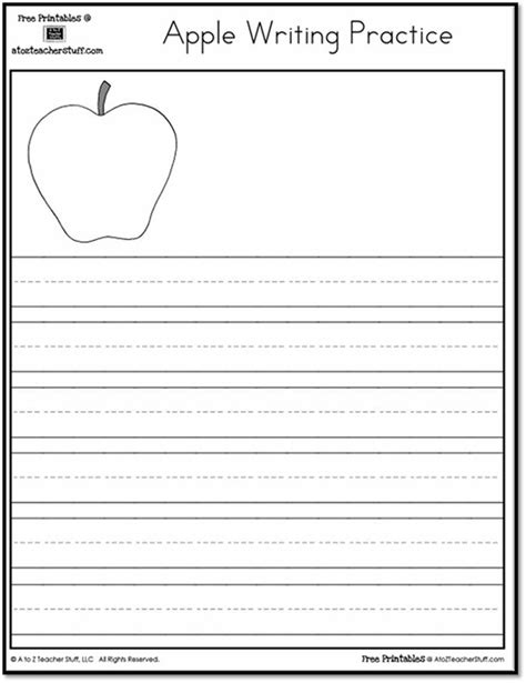 Apple Worksheets Grade by Printable Apple Writing Practice A To Z Stuff