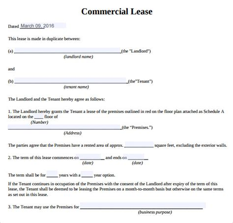 commercial lease templates sle commercial lease agreement 9 exle format