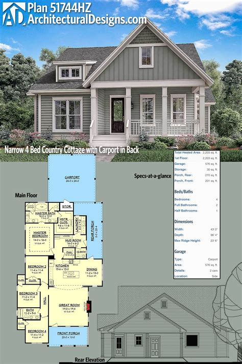 Architectural Designs Narrow Country Cottage Plan 51744hz
