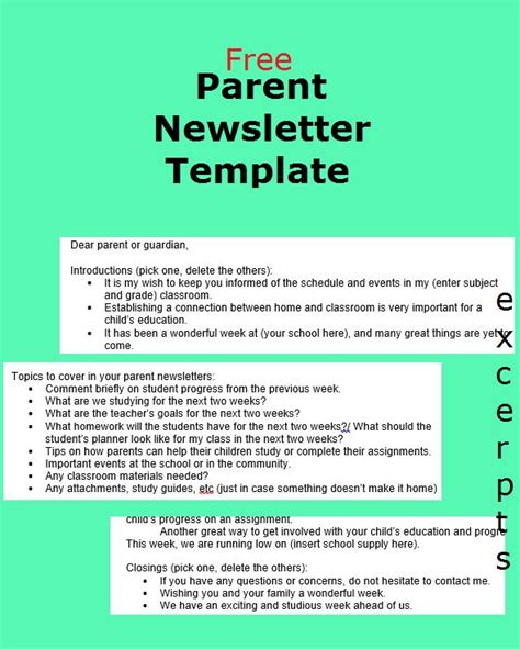 parent newsletter templates 1000 ideas about newsletter template free on