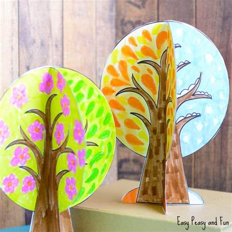 crafts tree four seasons tree craft with template easy peasy and