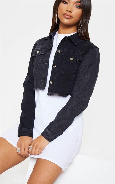 veste jean courte noire delavee contrastee denims