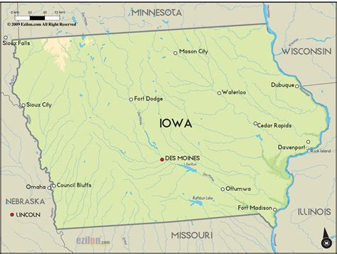 map of iowa geographical map of iowa and iowa geographical maps
