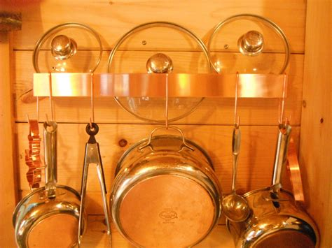 Copper Wall Mounted Pot Rack wall mounted solid copper pot rack