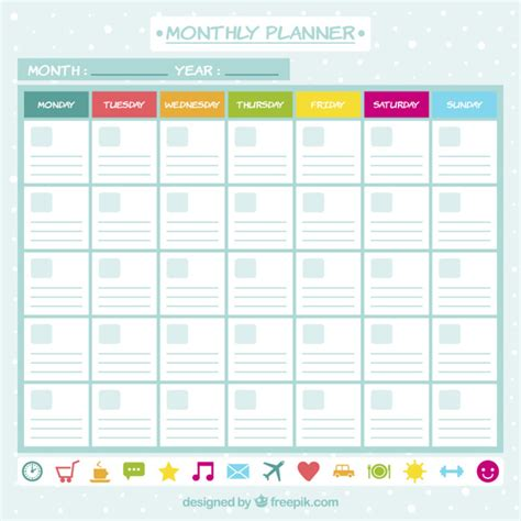 free printable planner icons monthly planner with icons vector free download