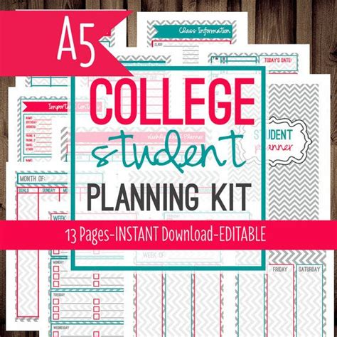 free printable planners for college students pinterest the world s catalog of ideas