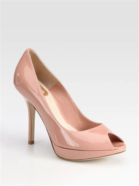 Shoes Of The Day Miss Beige Patent Peep Toe Pumps by Miss Patent Leather Peep Toe Pumps In Pink Lyst