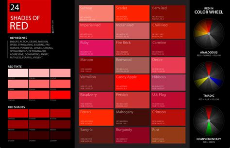 shades of red color palette and chart with color names 24 shades of red color palette graf1x com