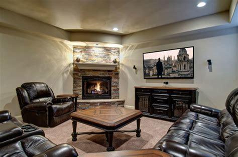 Basement Tv Wall Fireplace Traditional Basement Fireplace In Basement