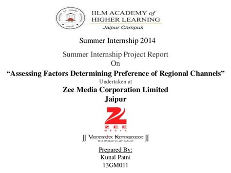 Mba Summer Internship Presentation Ppt by Summer Internship Ppt On Zee Media