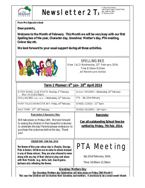 The Manor Montessori School Newsletter 2014 Montessori Newsletter Templates