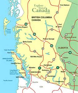 map of columbia canada with cities