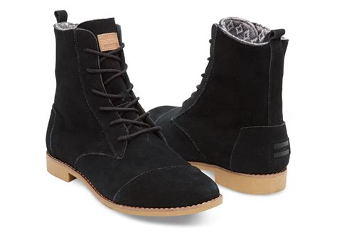 womens suede boots black suede s alpa boots toms