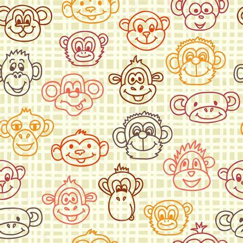 wallpaper imagenes para descargar lindos patr 243 n sin fisuras con lindos rostros de monos fondo de