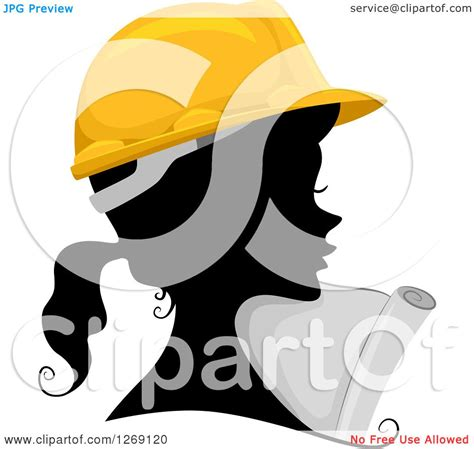 clipart of a silhouetted black contractor engineer woman s