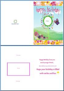birthday card template word exle of birthday card for a birthday