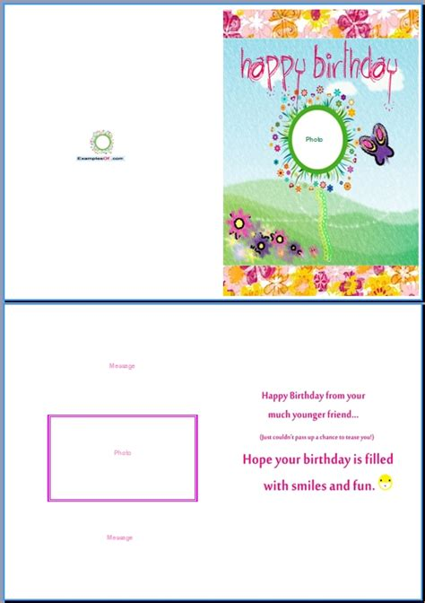 template for card exle of birthday card for a birthday