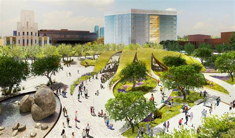 rolling green ribbons proposed for new urban park in downtown la inhabitat green design