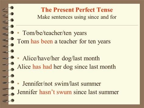 past perfect tense sentence pattern the present perfect tense ppt video online download