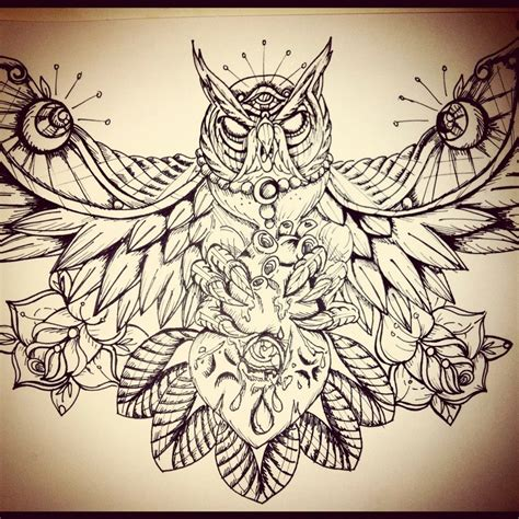 best owl tattoo designs owl chest drawingdenenasvalencia