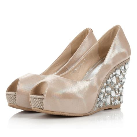 Bridal Shoes Wedges by Wedge Heel Rhinstone Peep Toes Leatherette Chagne