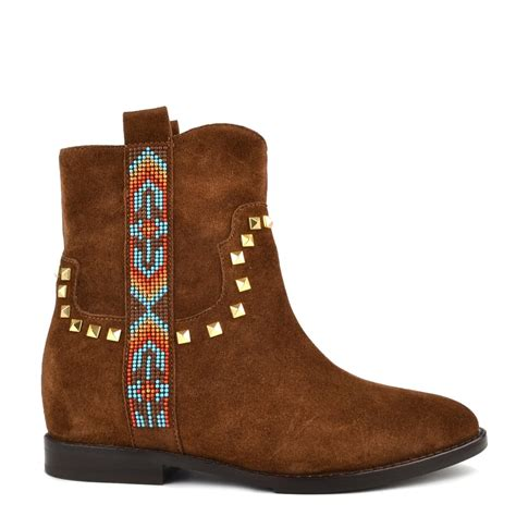 shop ash for brown suede wedge boots janice studded