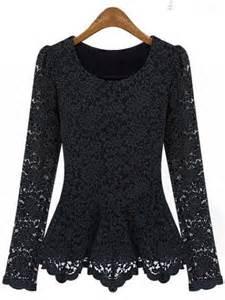 Shoulder Drape Necklace Round Collar Long Sleeve Lace Shirt Fashion71 Net