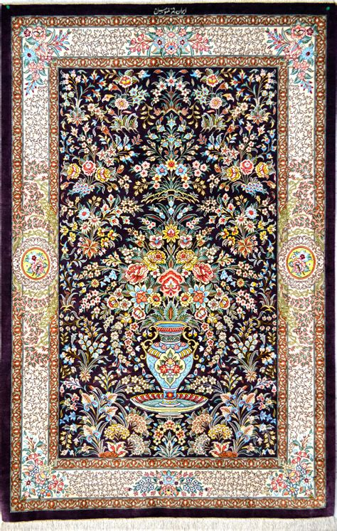 Qum Flower Vase Silk Persian Rug Item 1416 Silk Rug Value