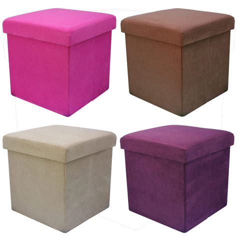 Faux Suede Storage Ottoman Faux Suede Folding Storage Pouffe Stool Seat Ottoman Box With Lid