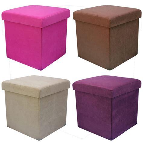 ottoman seat storage faux suede folding storage pouffe stool seat ottoman box