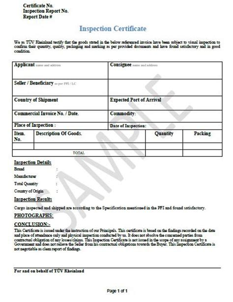 certificate of inspection template sle certificate of inspection letter choice image