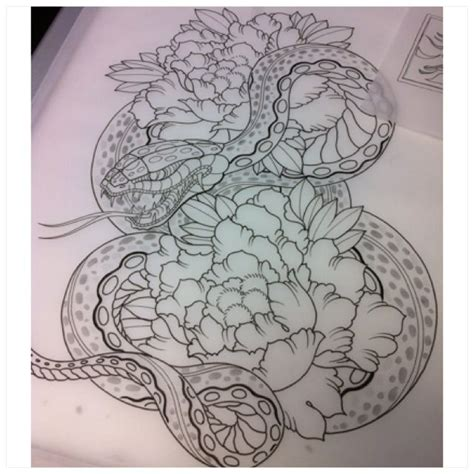 japanese snake tattoos designs snake peonie sketch fudoshin tattoos