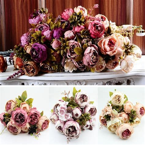 Home Decor Artificial Flowers 1 Bouquet 10 Heads Vintage Artificial Peony Silk Flower Wedding Home Decor In Decorative Flowers