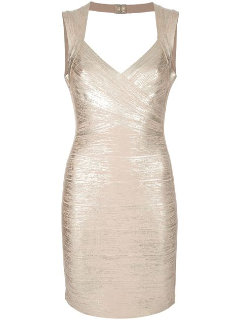 Premium Herve Leger Vneck Metallic Con Bandage 1 lyst herv 233 l 233 ger con dress in metallic