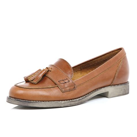 brown loafers river island brown leather tassel loafers in brown lyst