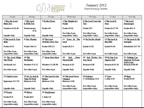 printable monthly january prayer calendar calendar