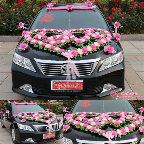 Festooned vehicle wedding car decoration suits bride car