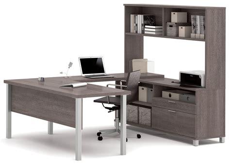 grey desk with hutch pro linea bark grey u desk with hutch from bestar 120860